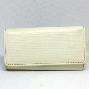 GUC Louis Vuitton White Leather 4-Key Holder